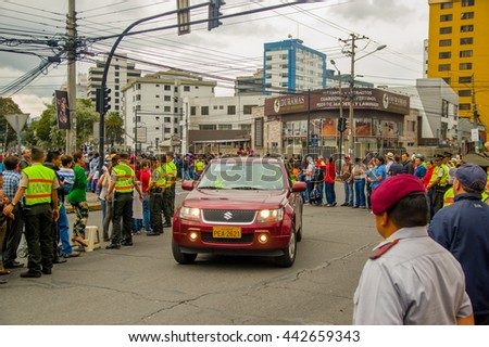 QUITO, ECUADOR - JULY 7, 2015: Pope Francisco making a visit on the streets of Ecuador, car on the front with body guards
