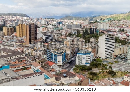 QUITO, ECUADOR - JUNE 24, 2015: Aerial view of Quito, capital of Ecuador
