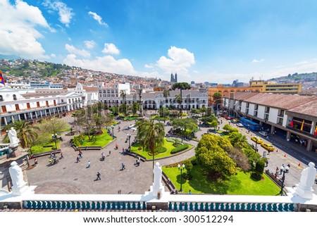 QUITO, ECUADOR - MARCH 6: Activity in the Plaza Grande in Quito, Ecuador on March 6, 2015 - stock photo