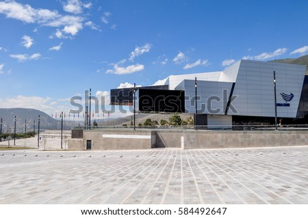 QUITO, ECUADOR, MARCH 08, - 2015 - Modern building in which is located the Unasur, an international organization of south american countries.