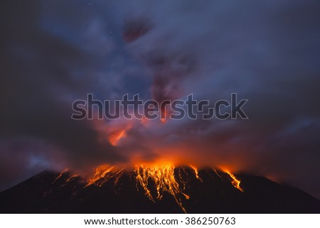 QUITO, ECUADOR - March 4, 2016: Tungurahua Volcano is one of the most active of Ecuador, you can see an explosion at 4 am with the moon shining through the clouds.