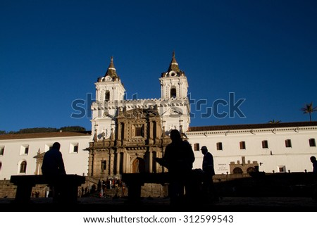 QUITO, ECUADOR - MAY 16, 2010: Beautiful photo of old town in Quito, San Francisco Plaza and church, Ecuador