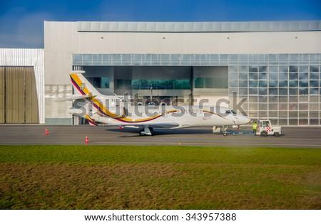 QUITO, ECUADOR - OCTOBER 31, 2015: Ecuadorian presidential airplane parked in Simon Bolivar airport. - stock photo