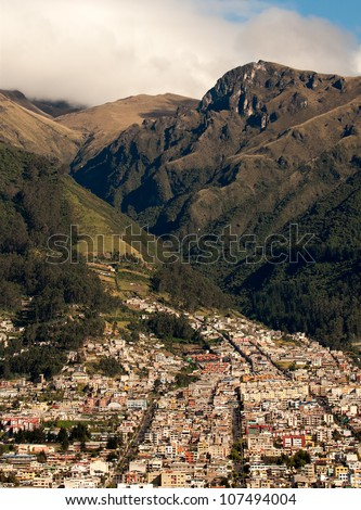 Quito, Ecuador, suburb at the foothills of the Andes mountains. - stock photo