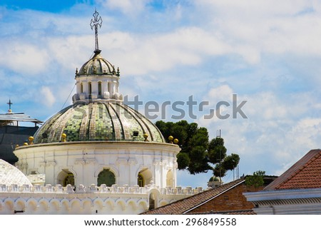 Quito old town historic center view, Ecuador. - stock photo
