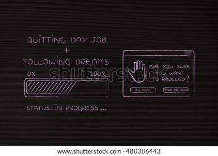 quitting day job plus following dreams: illustration with text and progress bar with status loading next to pop-up message Are you sure you want to proceed