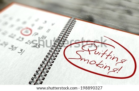 Quitting smoking important day calendar concept