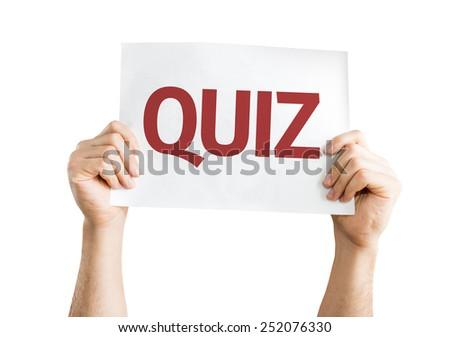 Quiz card isolated on white background - stock photo