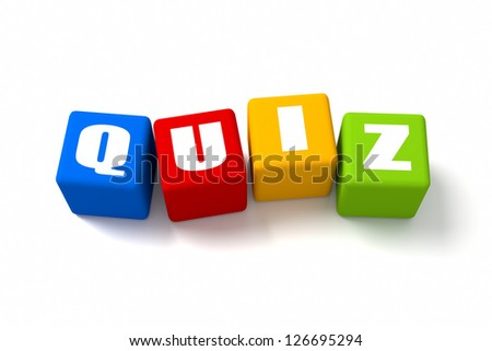Quiz colored cubes. Part of a series. - stock photo