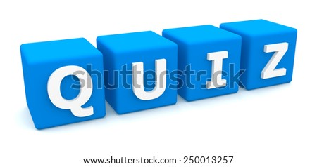 Quiz text on cubes isolated on white background