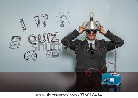Quiz text with vintage businessman - stock photo