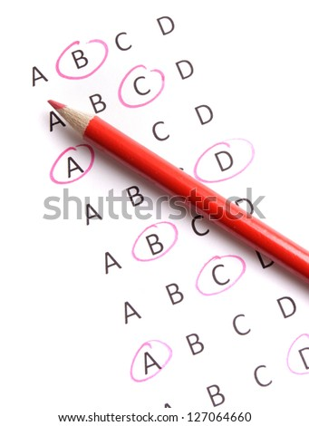 Quiz with red pencil. - stock photo