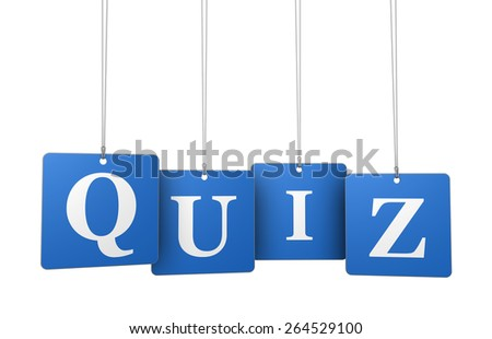Quiz word and sign on blue hanged label tags isolated on white background. - stock photo