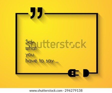 Quotation Mark Frame with Flat style and space for text. Modern template layout for phrases citation, famous quotations, ideas, advertising, printed material and so on. - stock photo
