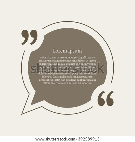 Quotation mark speech bubble empty quote stock illustration quotation mark speech bubble empty quote blank citation template round design element for business reheart Images