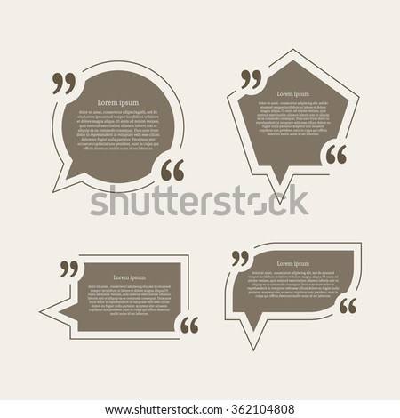 Quote mark speech bubbles set. Empty quote blank citation template. Four different design element for business card, paper sheet, information, note, message, motivation. Raster copy of vector file. - stock photo