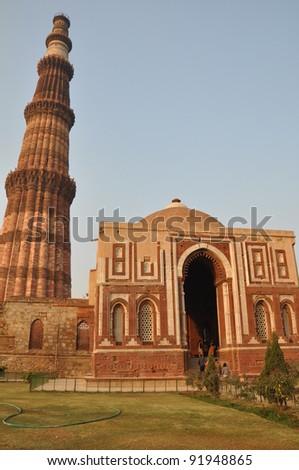 Qutab Minar in Delhi, India - stock photo