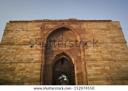 Qutub Minar , Delhi, India It's one of the wonder of india and the tallest brick minaret with 72.5 meters. The first Muslim ruler of Delhi in 1193,. It is now listed as a UNESCO World Heritage Site.  - stock photo