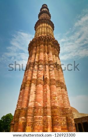 Qutub Minar (Qutub Tower, also Qutb Minar and Qutab Minar) in New Delhi, India - stock photo