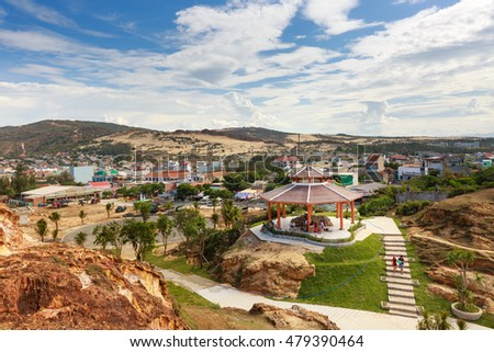 Quy Nhon City, Binh Dinh Province, Vietnam - August 28, 2016: panorama of Eo Gio beach in the city of Qui Nhon is a favorite tourist destination of many tourists