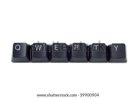 QWERTY help spelled out with black keyboard keys - stock photo