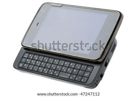QWERTY-smartphone with camera isolated on white - stock photo