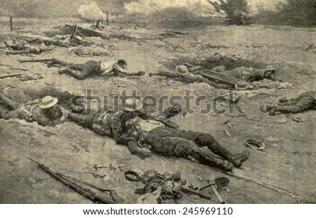 R.A.M.C. (Royal Army Medical Corps) bringing in wounded from No Man's land after a battle. In many cases, rescue of the wounded could only be done at night. Drawing by F. Matamoa ca. 1914-18. - stock photo