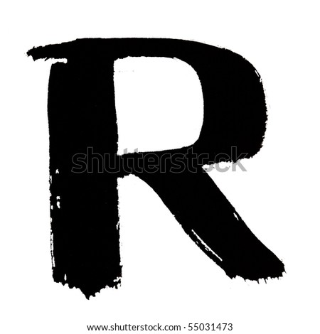 R - Black ink letters isolated over the white background