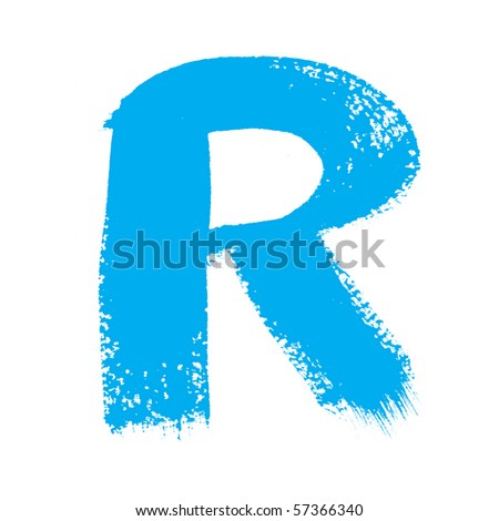 R - Colorful alphabet  isolated over the white background