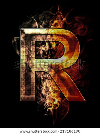 r, illustration of  letter with chrome effects and red fire on black background - stock photo