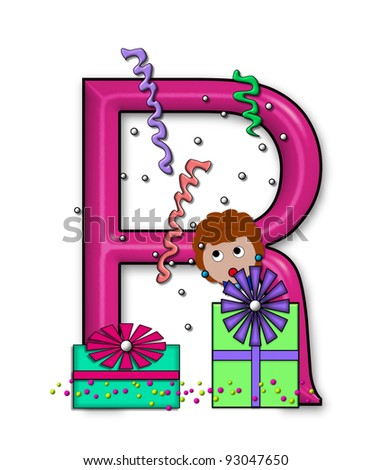 """R, in the alphabet set """"Birthday Letters"""", is surrounded by colorfully wrapped presents complete with bows.  Woman hides behind presents and peeks out pretending surprise. - stock photo"""