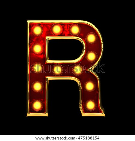 r isolated golden letter with lights on black. 3d illustration
