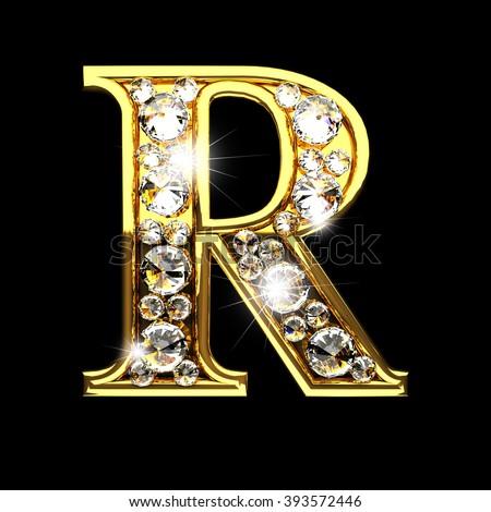 R Letter In Black Diamonds R Isolated Golden Lett...