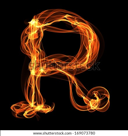 R letter in fire illustration. Flame ABC - stock photo