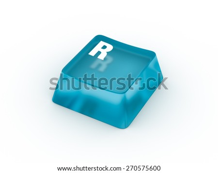 R Letter on transparent blue keyboard button - stock photo