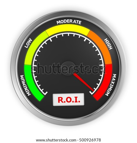 r.o.i level to maximum conceptual meter, 3d rendering