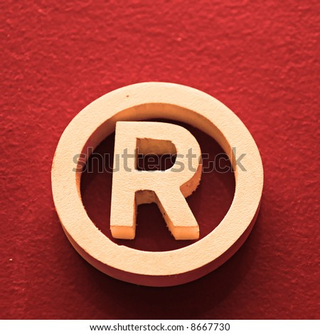 R - Registered trademark in a square red background - stock photo