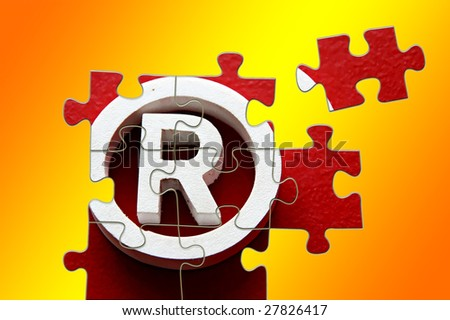 R Registered trademark - puzzle incomplete - illustration - stock photo