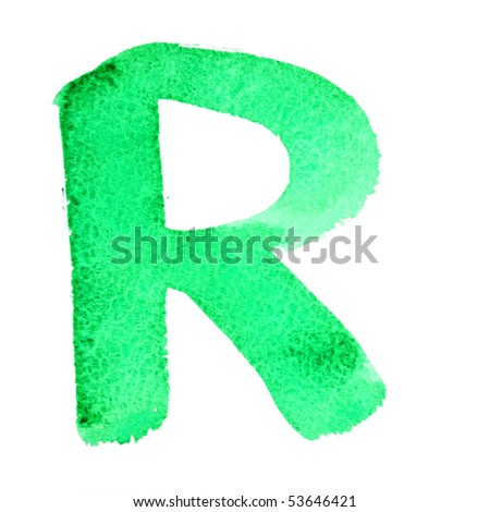 R - Watercolor letters isolated over the white background