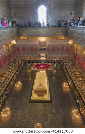 RABAT, MOROCCO - APRIL 18, 2016: Interior of the Mausoleum of Mohammed V
