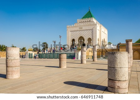 RABAT,MOROCCO - APRIL 7,2017 - View at the Mausoleum of Mohammed V. in Rabat. Rabat is the capital city of Morocco and its second largest city .