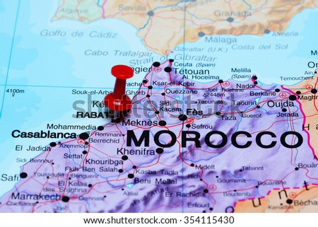 Rabat pinned on a map of Africa  - stock photo