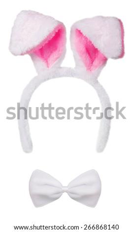 Rabbit ears isolated on white background - stock photo