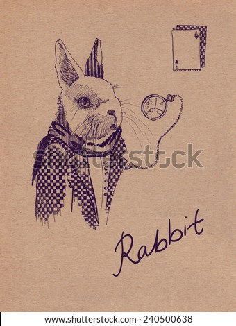Rabbit from Alice in Wonderland ink drawing with clock and playing cards. Black drawing on paper texture  - stock photo