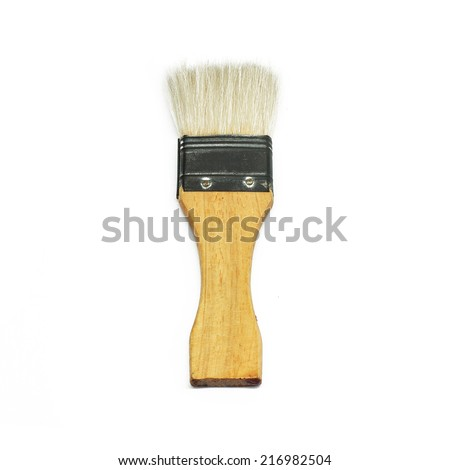 Rabbit hair paint brush isolated on a white background