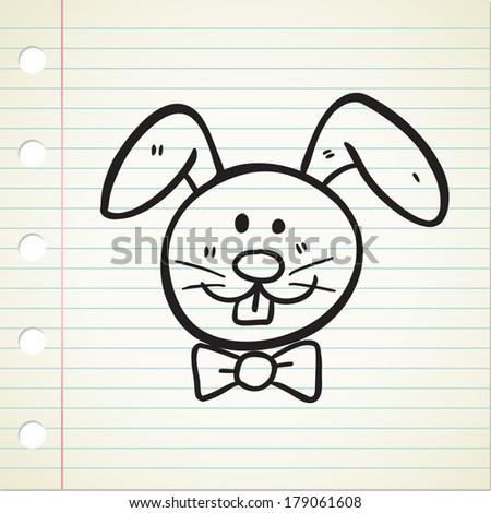 rabbit head in doodle style - stock photo