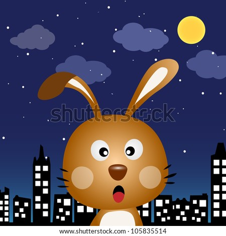 Rabbit in the city at night - stock photo