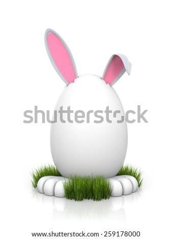 Rabbit in the egg - stock photo
