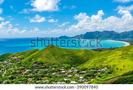 Rabbit Island can be seen in the distance from a high vantage point on the Lani Kai Pillbox Hike in southwest Oahu, Hawaii. - stock photo