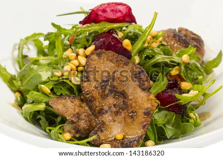 rabbit liver salad with arugula rabbit meat raw fresh carcass